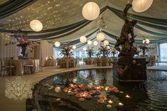 P-light roof canopy and Chinese lanterns at a wedding organised by dear friend and colleague @bespokeweddco