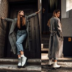 Martens Boots, Weill Paris Coat - Autumn Outfit: White Boots, Baggy Jeans and Checked Coat Outfit Damen dr martens Dr. Martens, Dr Martens Boots, Dr Martens Style, Moda Outfits, Fall Outfits, Casual Outfits, Fashion Outfits, Dr Martens Outfit, White Dr Martens