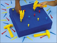 Build the pyramids Beginner's Hammering Kit. Do this with floral foam and golf tees when i do home depot dramatic play center Interactive Learning, Learning Toys, Early Learning, Diy Origami, Cutting Practice Sheets, Fine Motor Skills Development, Budget Crafts, Busy Boards For Toddlers, Lakeshore Learning