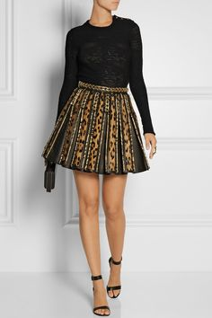 Balmain - Embellished leopard-print calf hair and leather mini skirt from NET-A-PORTER