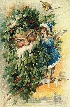 FATHER CHRISTMAS (GREEN) Susan Comish Christmas Art Gallery ...
