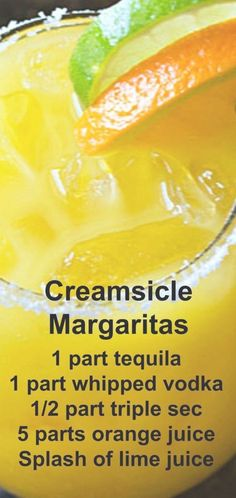 Creamsicle Margaritas Creamsicle Margaritas ~ Tequila, whipped vodka, orange juice, triple sec and lime juice come together in the ultimate creamy orange margarita! Alcohol Drink Recipes, Vodka Recipes, Margarita Recipes, Cocktail Recipes, Cocktail Drinks, Fireball Recipes, Party Drinks, Whipped Vodka Drinks, Tequila Drinks