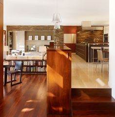 home: living area Kitchen Bookcase Design, Pictures, Remodel, Decor and Ideas - page 18 -- LOW BEHIN Long Low Bookcase, Studio Apartment Room Divider, Apartment Design, Dream Home Design, House Design, Kitchen Bookcase, Split Level Kitchen, Interior Exterior, Interior Design
