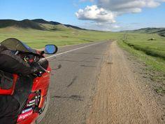 Riding on Hayabusa through Mongolian steppe.