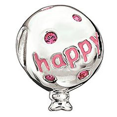 Birthday Balloon - Light Rose     Happy Birthday to you! Made with Rose crystals and pink epoxy, this charming sterling silver birthday balloon is the perfect way to celebrate yours or a loved one's special day.