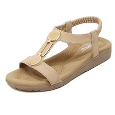 MayMeenth Women's Low heels Soft Material Solid Elastic Open Toe Wedges-Sandals ** Be sure to check out this awesome product.