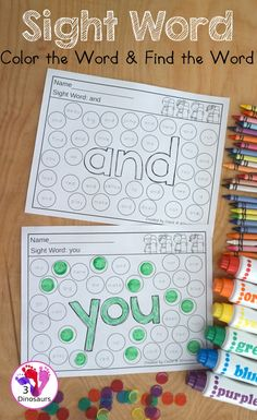 Sight Word Color The Word & Find the Word - with all 220 sight words for kids to work on learning. They color the word and then find the sight word. It is an easy no-prep printable for kids to use. - 3Dinosaurs.com #sightwords #sightwordfind #learningtoread #3dinosaurs #noprepprintable #kindergarten #firstgrade Teaching Sight Words, Sight Words List, Sight Word Activities, Preschool Learning Activities, Classroom Activities, Sight Word Coloring, Sight Words Printables, Creative Curriculum, Creative Thinking