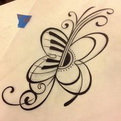 Half piano and half guitar butterfly music note tattoo