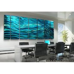"""Aqua Blue Wave II XL"" Metal Wall Art, Contemporary Office Decor, Abstract Wall Sculpture"