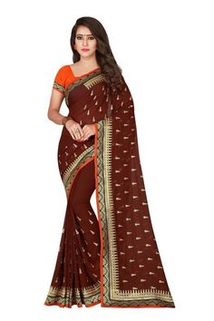 07d76f9408 Brown Embroidered Wedding Bollywood Saree Indian Ethnic Designer Sari  #fashion #clothing #shoes #
