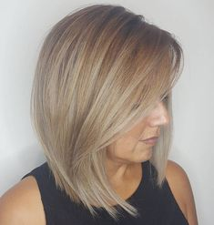 Ash Blonde Lob With Long Swoopy Bangs Blonde Pony, Ash Blonde Bob, Dark Blonde Bobs, Bob Haircuts For Women, Long Bob Haircuts, Long Bob Hairstyles, Formal Hairstyles, Wedding Hairstyles, Blonde Hair Over 40