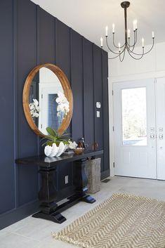 Home Decoration Ideas Living Room .Home Decoration Ideas Living Room Blue Accent Walls, Navy Walls, Kitchen Accent Walls, Wall Accents, Blue Accents, Living Room Panelling, Wall Panelling, Modern Wall Paneling, Painted Wall Paneling