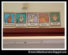 hand signal signs. I really like this idea, must teach on FIRST day of school!