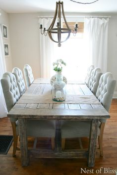 Coastal Farmhouse Dining Room. Love the plush chairs with the rustic table