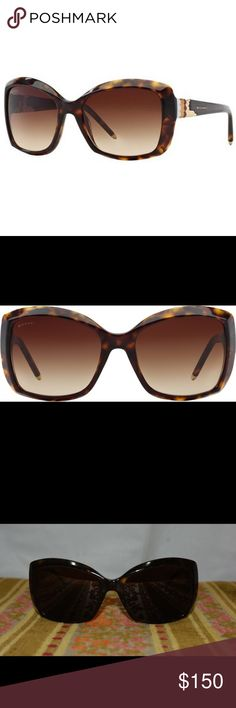 Bvlgari Havana Butterfly Sunglasses Bvlgari Havana Sunglasses (8133), lightly used and in great condition, includes case, drawstring bag, and replacement lenses. Sizes are pictured. Bulgari Accessories Glasses