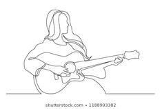 continuous line drawing of girl playing acoustic guitar Ukulele Drawing, Drum Drawing, Contour Line Drawing, Indie Drawings, Cool Drawings, Guitar Art, Acoustic Guitar Tattoo, Beautiful Easy Drawings, Outline Art