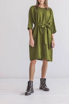 Linen dress 3/4 sleeves summer dress with belt   Etsy Sustainable Looks, White Linen Dresses, Summer Outfits, Summer Dresses, Oversized Dress, Fabric Samples, S Models, Linen Fabric, Belt