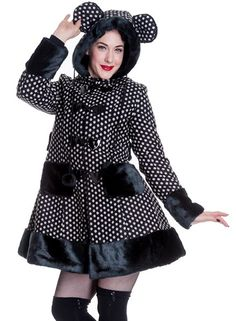 HELL BUNNY Mika ~ Rockabilly Gothic Hooded Polka Dot Swing Coat ... Shift+R improves the quality of this image. CTRL+F5 reloads the whole page.
