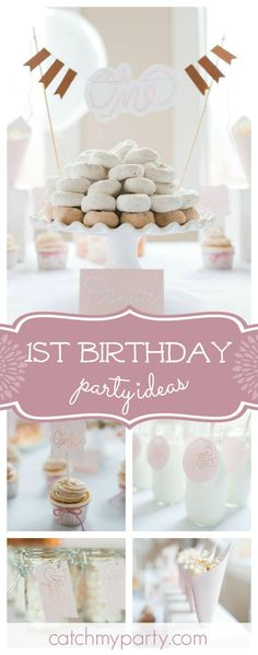 Take a look at this wonderful sugar and spice inspired 1st birthday party! The donut cake is so pretty!! See more party ideas and share yours at CatchMyParty.com #1stbirthday #girlbirthday