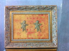 tela Anjos Dourados em pintura acrilica e tecnica mista 2013 - 45x60 - acrylic on canvas - Melina Ollandezos