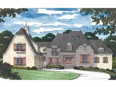 French Country House Plan with 8620 Square Feet and 5 Bedrooms(s) from Dream Home Source   House Plan Code DHSW54313