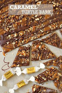 Gooey Caramel Turtle Bark – Six Sisters' Stuff This easy, 10 minute, 4 ingredient chocolate bark is irresistable and perfect for holiday gatherings or work parties! Christmas Bark, Christmas Desserts, Holiday Treats, Christmas Treats, Christmas Parties, Xmas, Christmas Recipes, Christmas Candy Bar, Christmas Squares