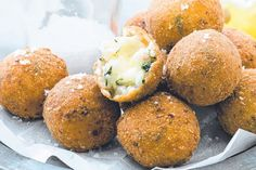 Prosciutto and spinach arancini  (fried rice balls coated with breadcrumbs) -Italy