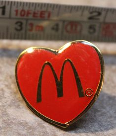 McDonalds Valentines Day Heart Employee Collectible Pinback Pin Button #McDonalds
