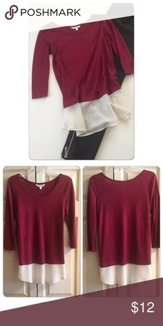 Layered • Top Layered top in raspberry and white color, adorable dressed up with slacks or casual with a pair of jeans.  Brand • Charming Charlie.  Size • Small, but fit is more of a 6/8.  Fabric • Shell: 70% rayon, 30% polyester - Contrast: 100% polyester.  Condition • Worn once, in brand new condition.  Measurements upon request. Charming Charlie Tops Blouses