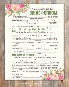 Spring Wedding Mad Libs Advice Card Printable Design by Jeneze
