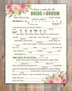 Spring Wedding Mad Libs Advice Card  Printable Design  by Jeneze