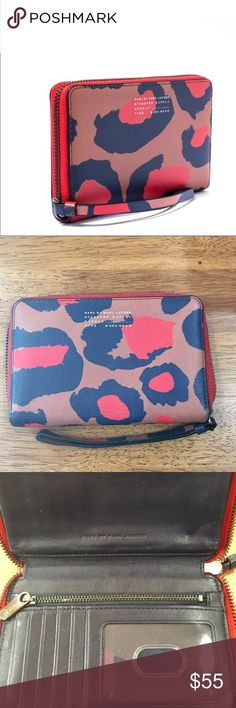 Marc by Marc Jacobs wallet One of my old classics Multicolor Pink Sophisticato Leopard Print Wingman Wallet  Has a few flaws the back has a pen mark and the strap has some cracking  color is a littler darker from normal use overall condition is good not perfect inside is still clean still has lots of life Marc by Marc Jacobs Bags Wallets