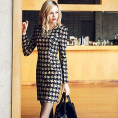 Hounds-tooth Long Sleeve Round Neck Woolen Dress