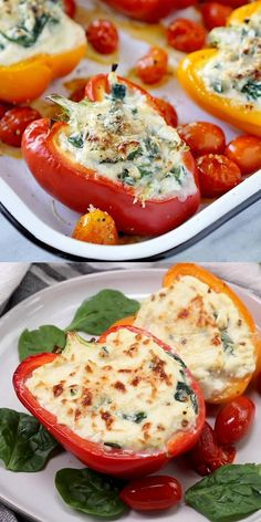 This low carb version of one of my favorite spinach and ricotta stuffed shells recipe makes weeknight dinners a breeze! recipes vegetarian videos Spinach And Ricotta Stuffed Peppers Vegetarian Recipes Videos, Vegetarian Dinners, Healthy Dinner Recipes, Low Carb Recipes, Easy Healthy Dinners, Healthy Meal Prep, Healthy Recipes With Spinach, Recipes For Vegetarians, Healthy Eating