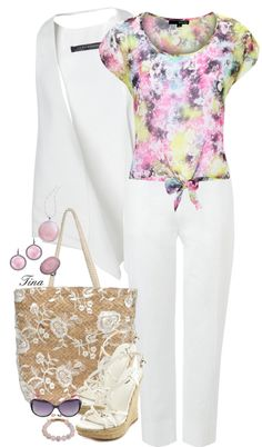 """""""Floral Tie Tee"""" by tinarie ❤ liked on Polyvore"""