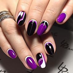 # Purple, Black & White Nails