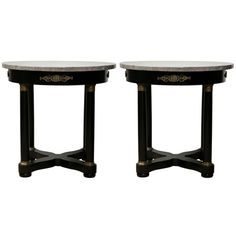 Pair of French Empire Style Ebonized Side Tables 102-8466