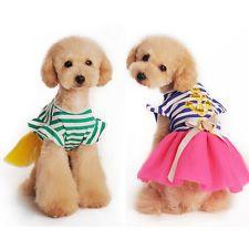 Navy Striped Dog Clothes Pet Puppy Tutu Dress Skirt Cat Bowknot Princess Apparel