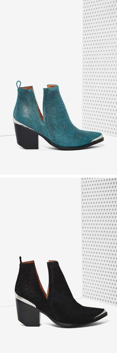 This ain't our first rodeo with @jeffreycampbell Cromwell Ankle Booties - now in distressed teal suede as well as black!