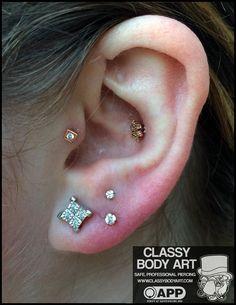 double vertical lobe piercing - Google Search