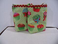 Valentine's Day Gift Bag Mini Tote Cupcake Design Handmade Holiday Gift Bag