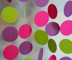 Items similar to Girl's Birthday Garland, Hot Pink, Lime Green & Purple Circle Garland, 10 ft. long on Etsy Barney Birthday Party, Barney Party, 2nd Birthday Parties, Girl Birthday, Birthday Ideas, Circle Garland, Birthday Garland, Barney & Friends, Sleepover Party