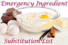 Emergency Ingredient Substitution List