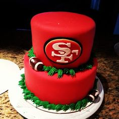 49ers cake - Pink Sugar Cupcakes 49ers Cake, Football Themed Cakes, Cake Piping, Sugar Cake, Pink Sugar, Cookie Designs, Fondant Cakes, Party Cakes, Let Them Eat Cake
