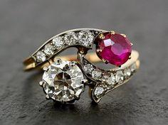Antique Ruby & Diamond Ring  Edwardian 18ct