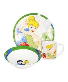 Look at this Three-Piece Tinkerbell Dinnerware Set on #zulily today!