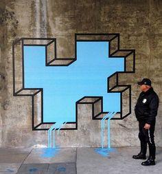 Street Art and geometric illusions by Aakash Nihalani