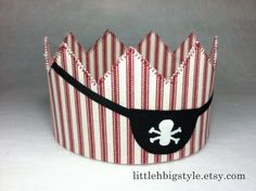 Fabric Pirate Crown with Eye Patch and Skull and Crossbones - Halloween Costume