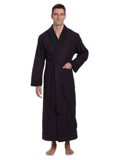 0cd2925e85 Men s Premium 100% Cotton Flannel Fleece Lined Robe