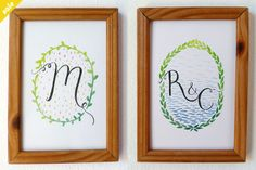 Custom monogram illustrations, each one idividually hand illustrated by me. This means you& be getting an original illustration and not a print. Hand Illustration, Illustrations, Green Wedding Shoes, Hand Lettering, Stationery, Monogram, Graphic Design, Wallpaper, Frame